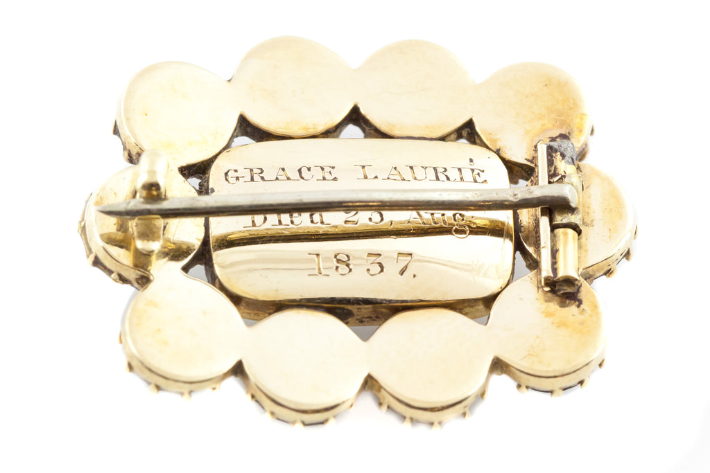 Georgian 9ct Gold Moonstone and Jet Brooch c.1837