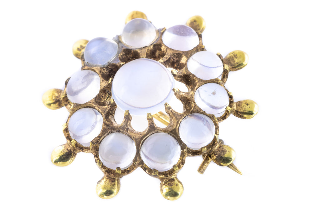 Victorian Moonstone Brooch with 9ct Gold Plating