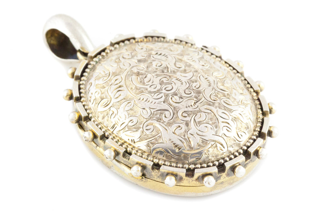 Silver Victorian Aesthetic Large Locket with Beaded Edge