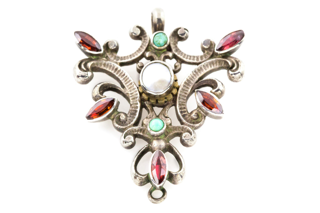 Austro-Hungarian Silver Pendant with Pearl Garnets, and Turquoise