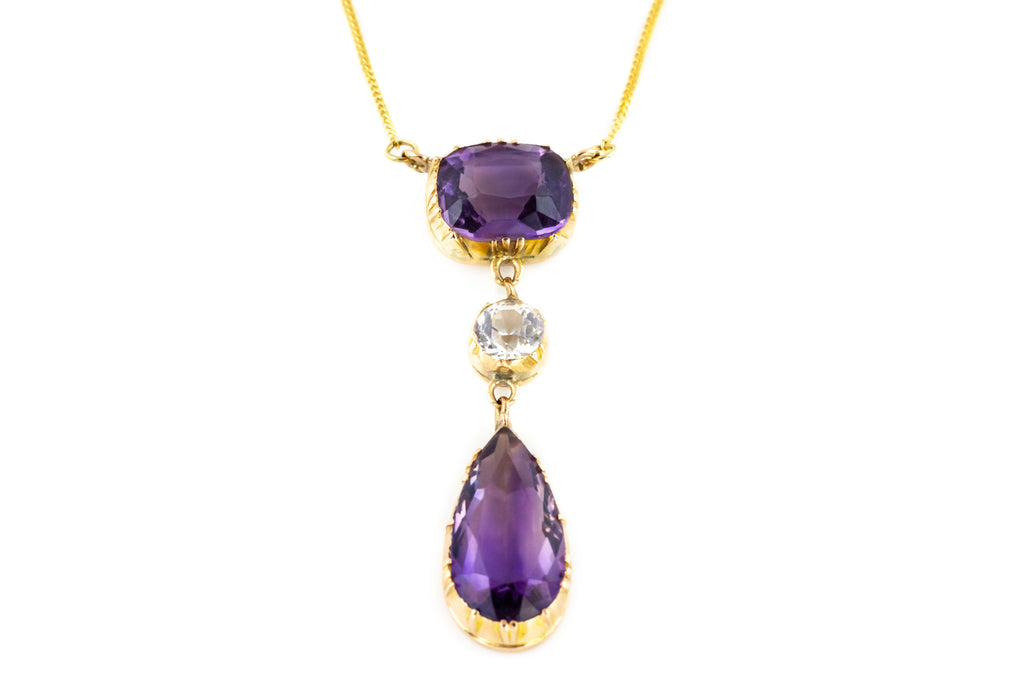 Georgian Amethyst Drop Pendant - Georgian Amethyst Necklace