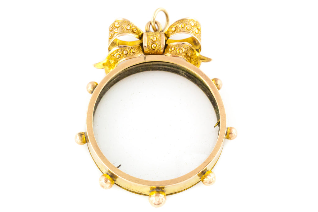 Edwardian Gold Locket with Decorative Bow