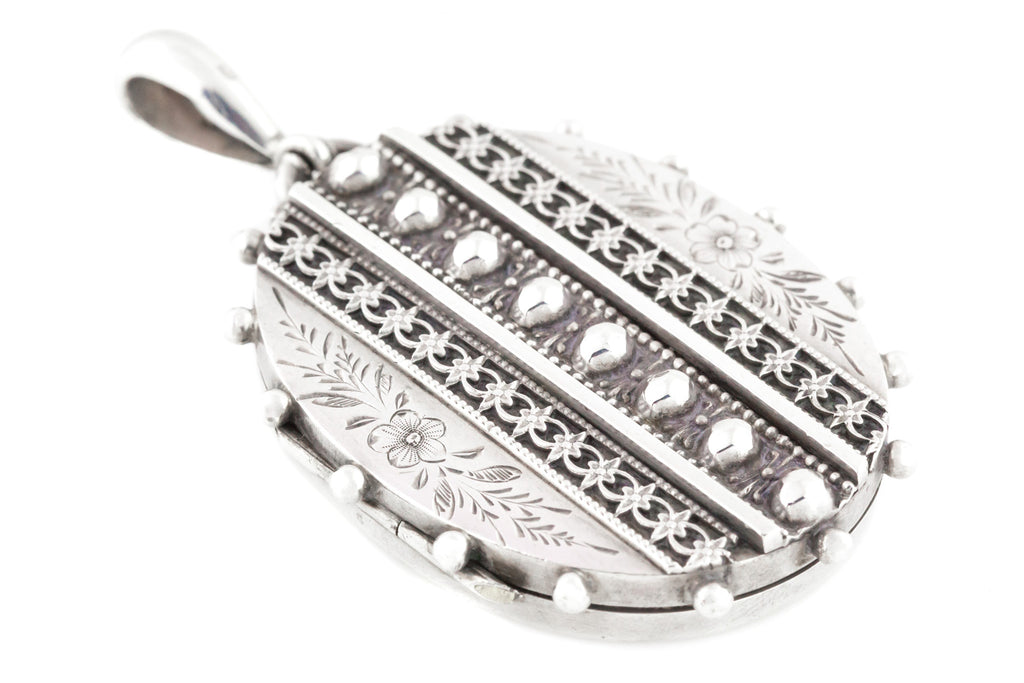 Studded Victorian Aesthetic Silver Locket with Beaded Edge - Fully Hallmarked