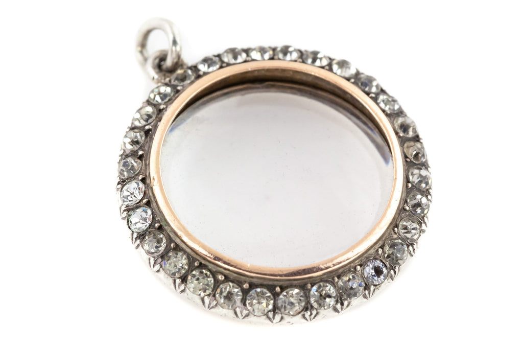Edwardian Silver Paste Locket with Rose Gold Edging