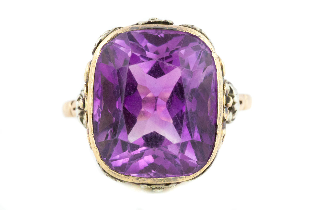 Rare Arts and Crafts Era Amethyst Ring (in 14ct Rose Gold and Silver)