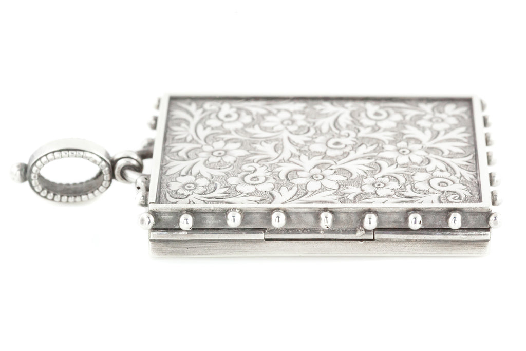 Victorian Aesthetic Silver Rectangular Locket