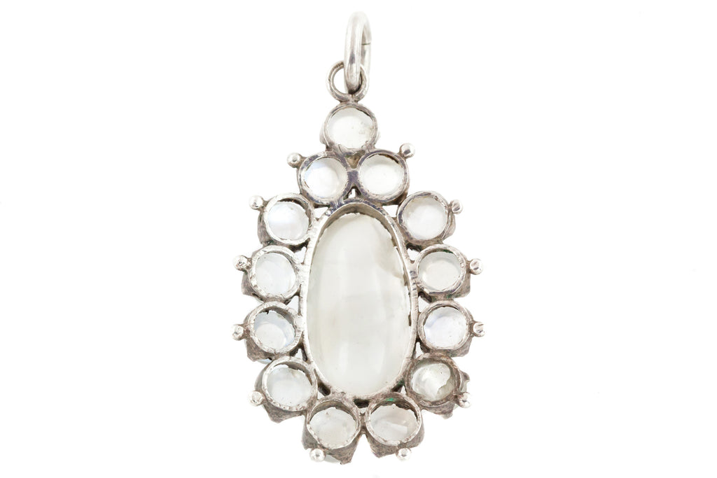 Victorian Moonstone Cluster Pendant with Large 6.74ct Moonstone Centre