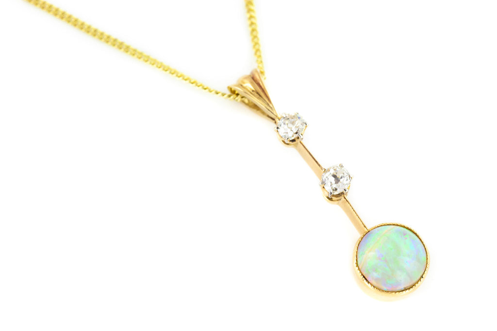 Antique 9ct Gold Opal and Diamond Pendant c.1900