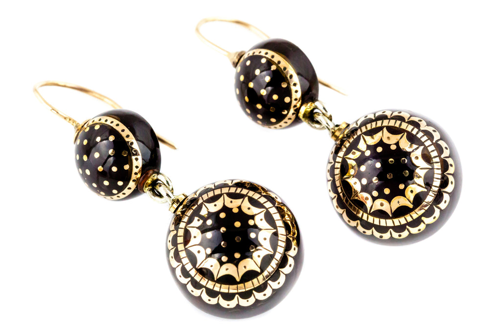 Victorian Pique Drop Earrings with 9ct Gold inlay