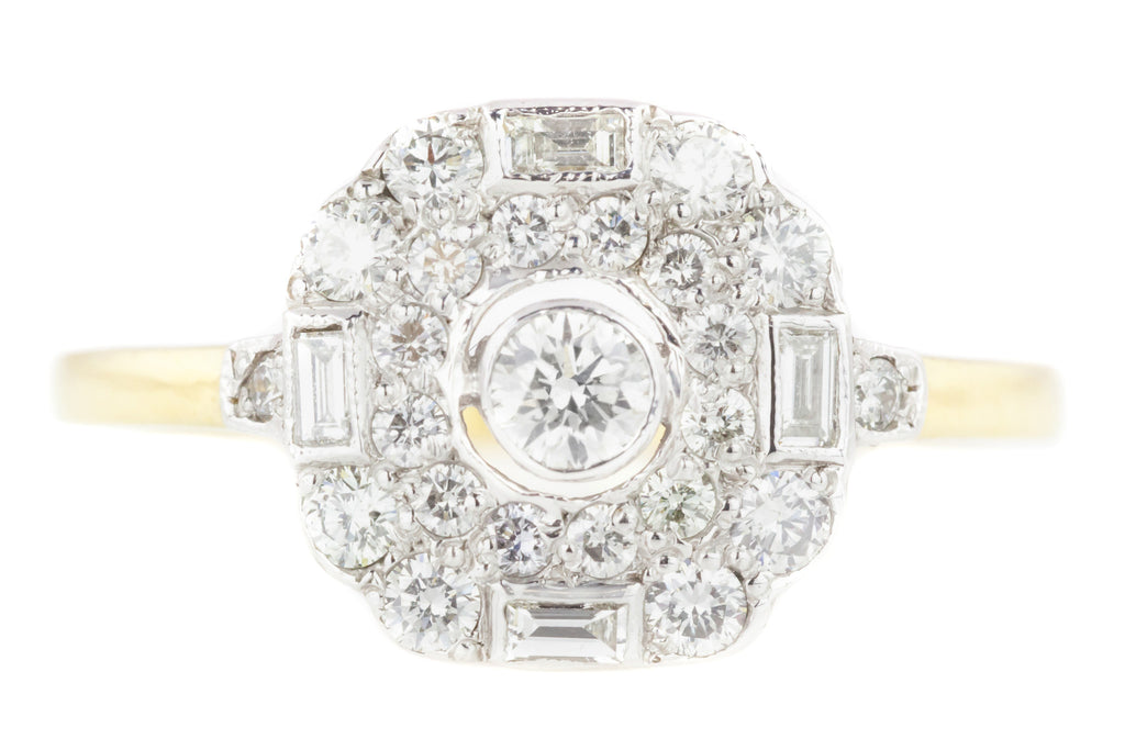 Art Deco Diamond Panel Ring in 18ct Gold & Platinum - 0.35cts