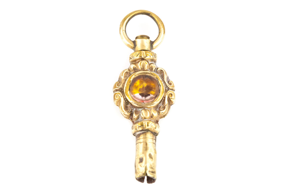 Antique Watch Key Fob Pendant with Chain