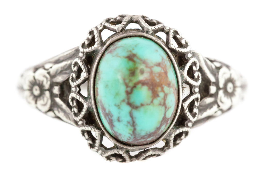 Victorian Silver Turquoise Cabochon Ring with Beautiful Patterned Band