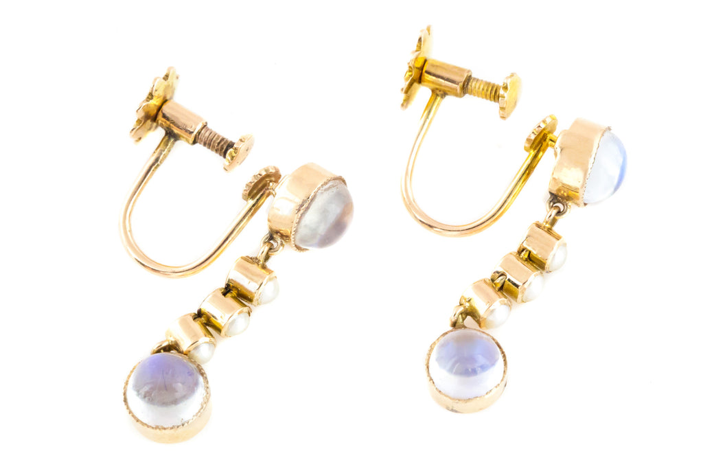 9ct Rose Gold Antique Moonstone and Pearl Drop Earrings