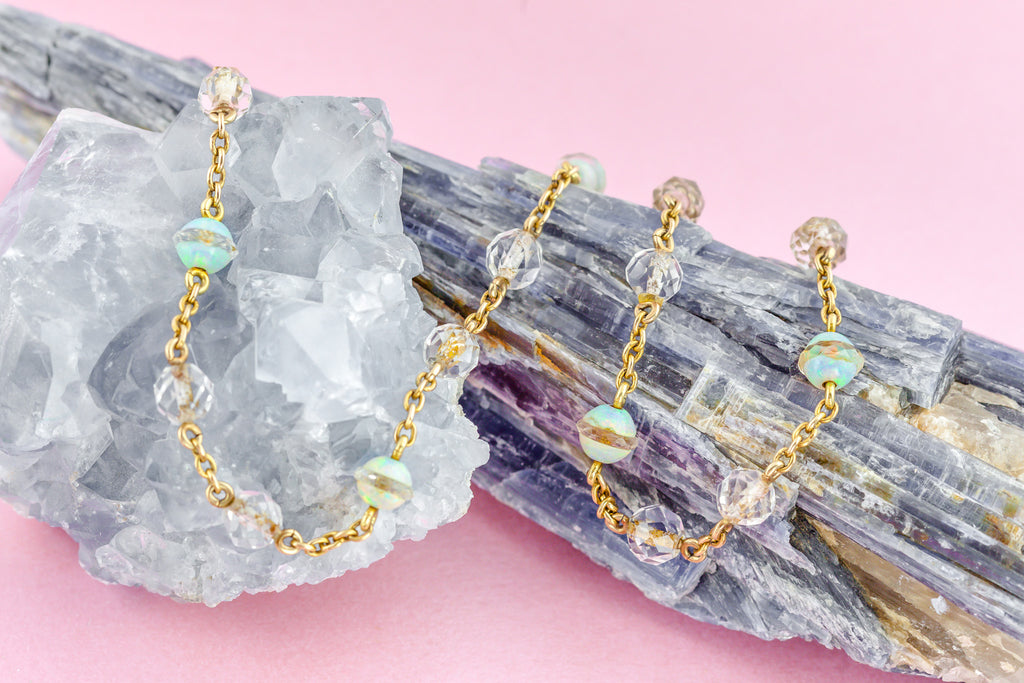 15ct Gold Opal and Rock Crystal Necklace