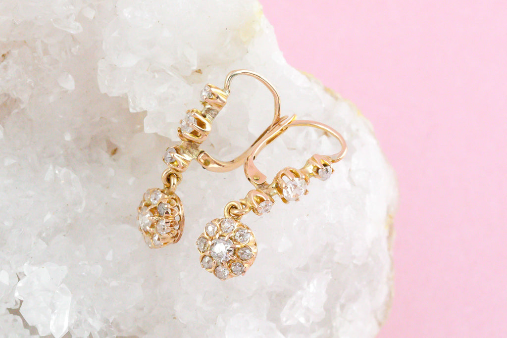 Antique Rose Gold Diamond Cluster Drop Earrings
