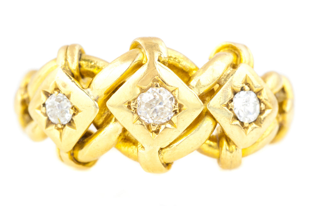 18ct Gold Antique Knot Ring with Three Diamonds