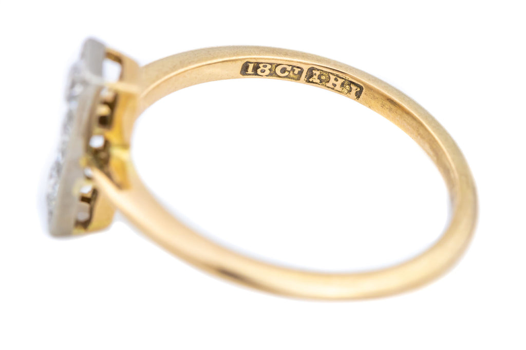RESERVED 18ct Gold Art Deco Diamond Trilogy Ring with Striking Shank