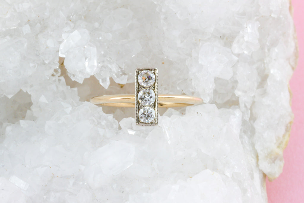18ct Gold Art Deco Diamond Trilogy Ring with Striking Shank