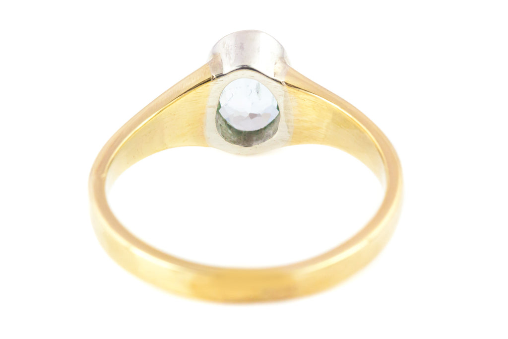 18ct Gold Edwardian Aquamarine Solitaire Ring