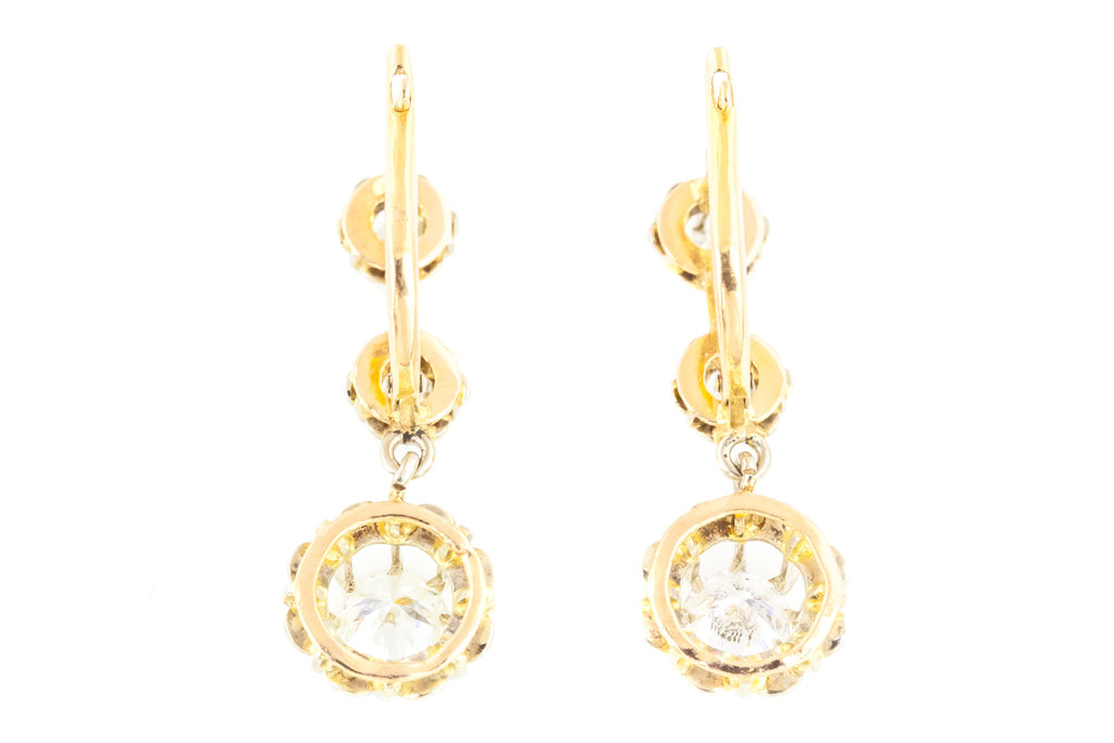 1.0ct Antique French Diamond Drop Earrings in 18ct Gold - Lever Backs