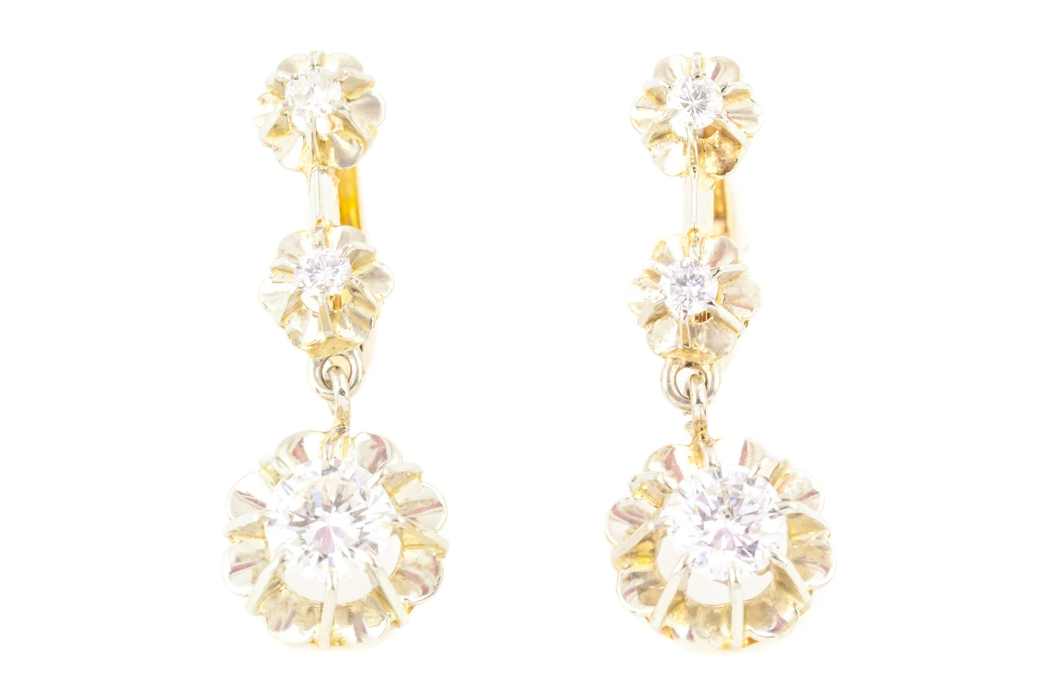 644fb02e96ea4a 1.0ct Antique French Diamond Drop Earrings in 18ct Gold - Lever Backs