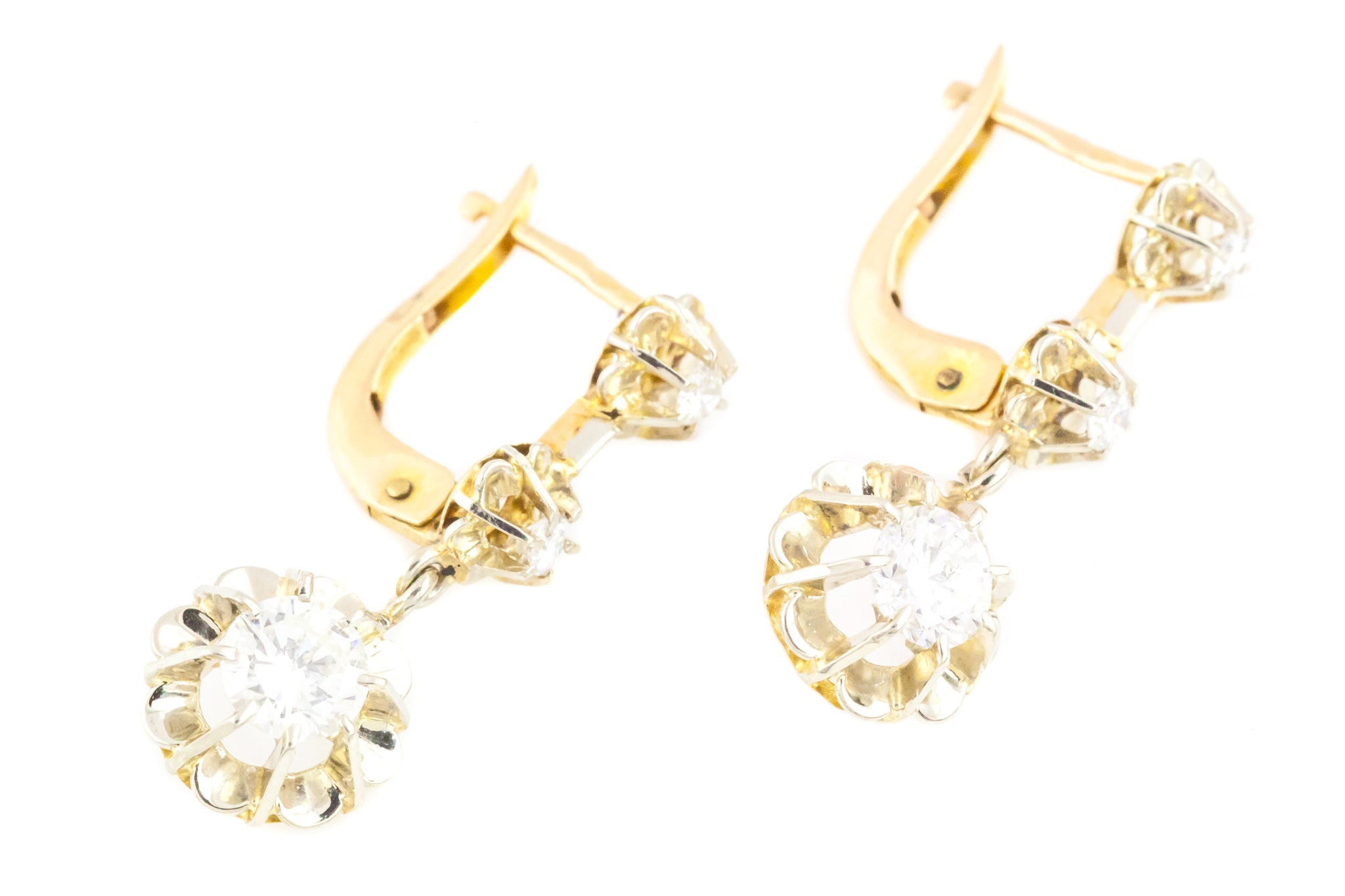 51f595a0a5e2fb 1.0ct Antique French Diamond Drop Earrings in 18ct Gold - Lever Backs –  Lillicoco