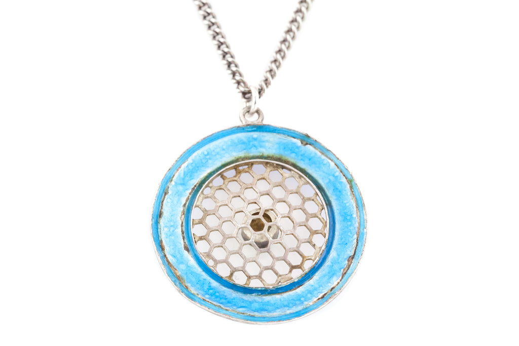 Blue Edwardian Silver & Enamel Pendant with Pearl - Silver Chain Included
