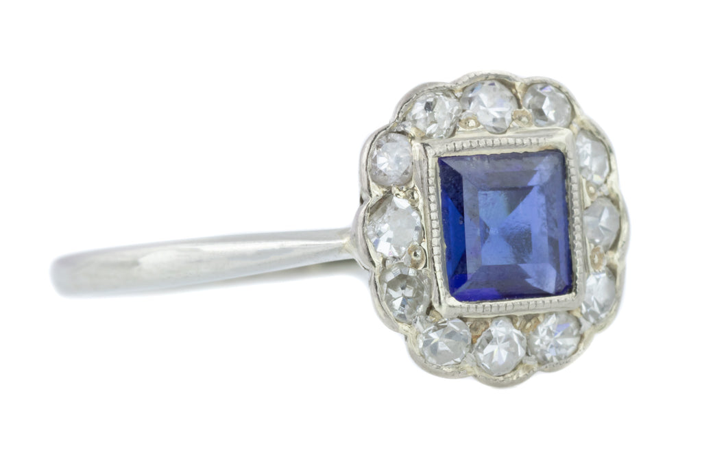 Edwardian 18ct Gold and Platinum Sapphire and Diamond Cluster Ring