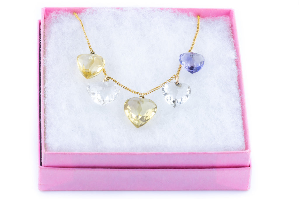 Amethyst, Citrine and Rock Crystal Heart Necklace