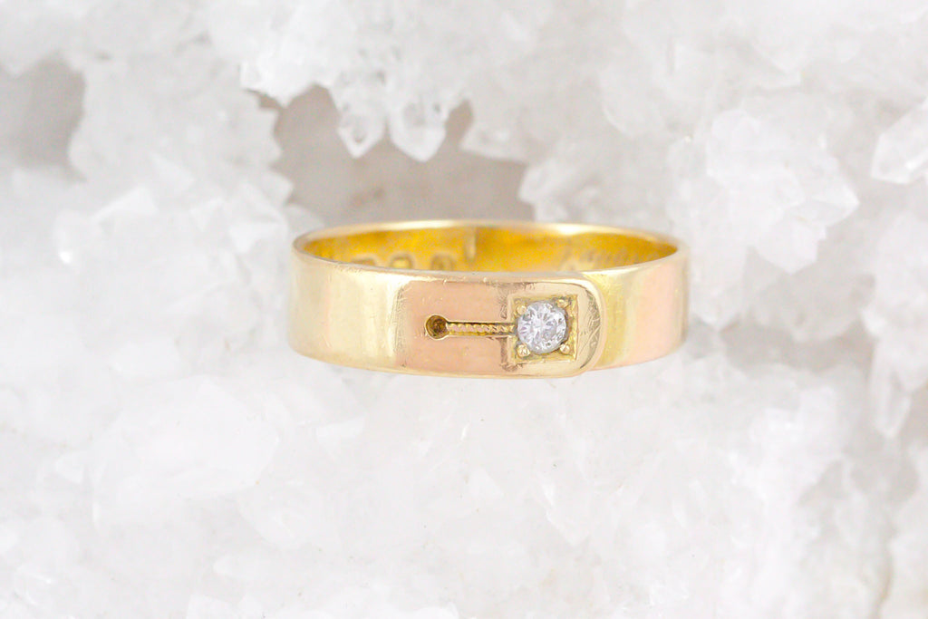 18ct Gold Victorian Buckle Ring - Antique Diamond Buckle Ring c.1891