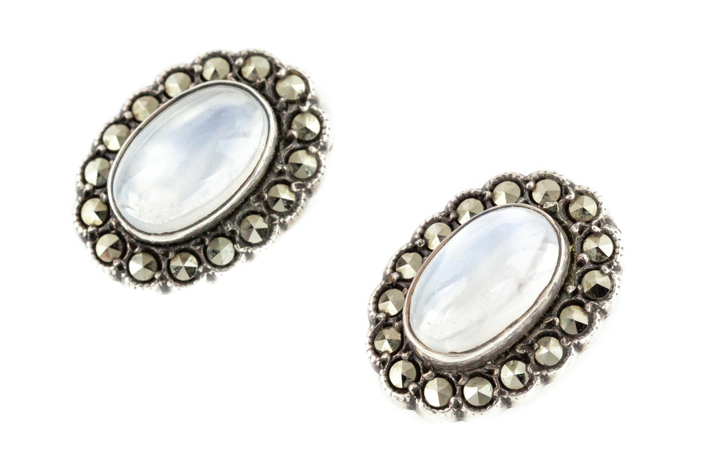 Art Deco Moonstone Earrings with Marcasite in Sterling Silver