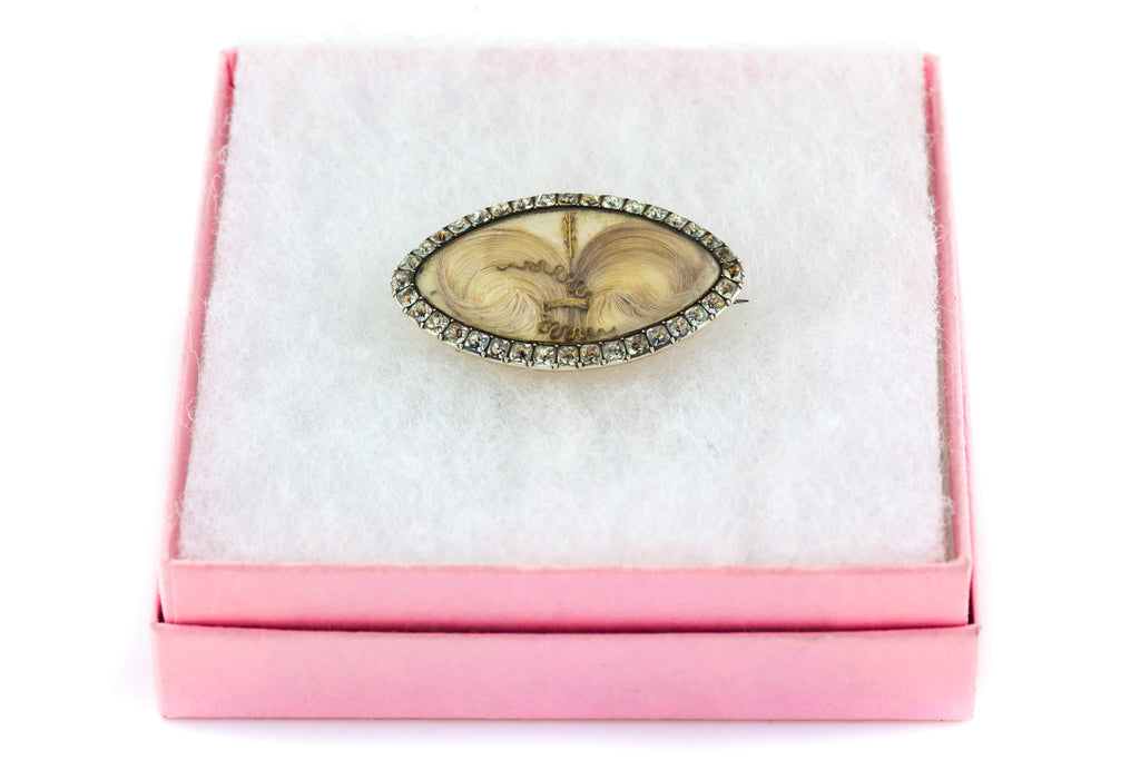 Georgian Paste Mourning Brooch in 9ct Rose Gold and Silver with Antique Box