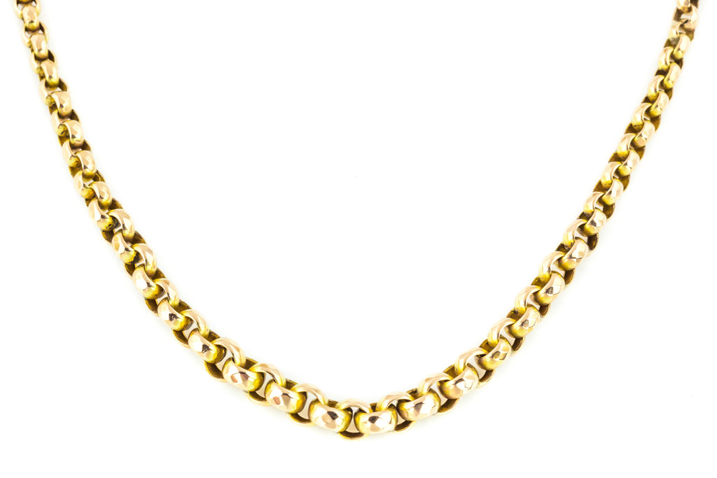 9ct Gold Victorian Belcher Chain Necklace 17""