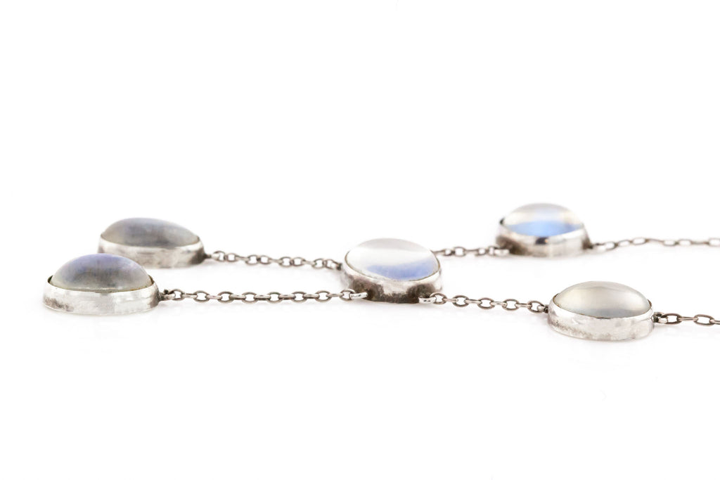 Antique Moonstone Drop Necklace - Edwardian Silver Moonstone Necklace