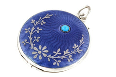 Art Nouveau Blue Enamel Guilloche Locket