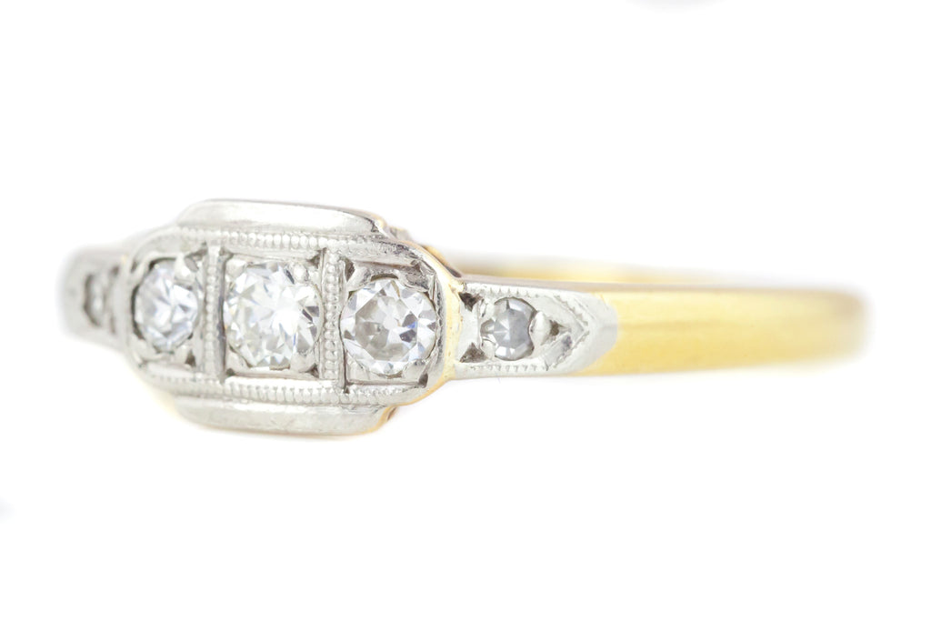 Art Deco Diamond Ring in 18ct Gold & Platinum