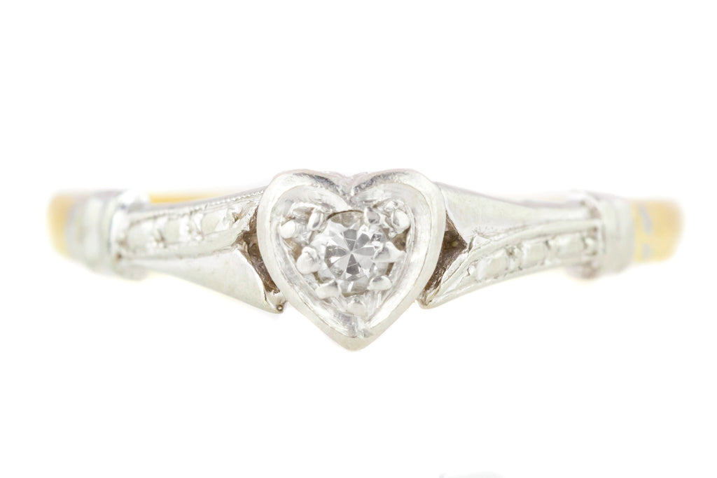Art Deco 18ct Gold and Platinum Heart Shaped Ring