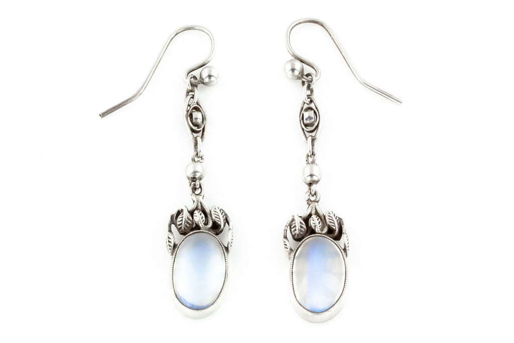 Arts and Crafts Era Moonstone Drop Earrings c.1890