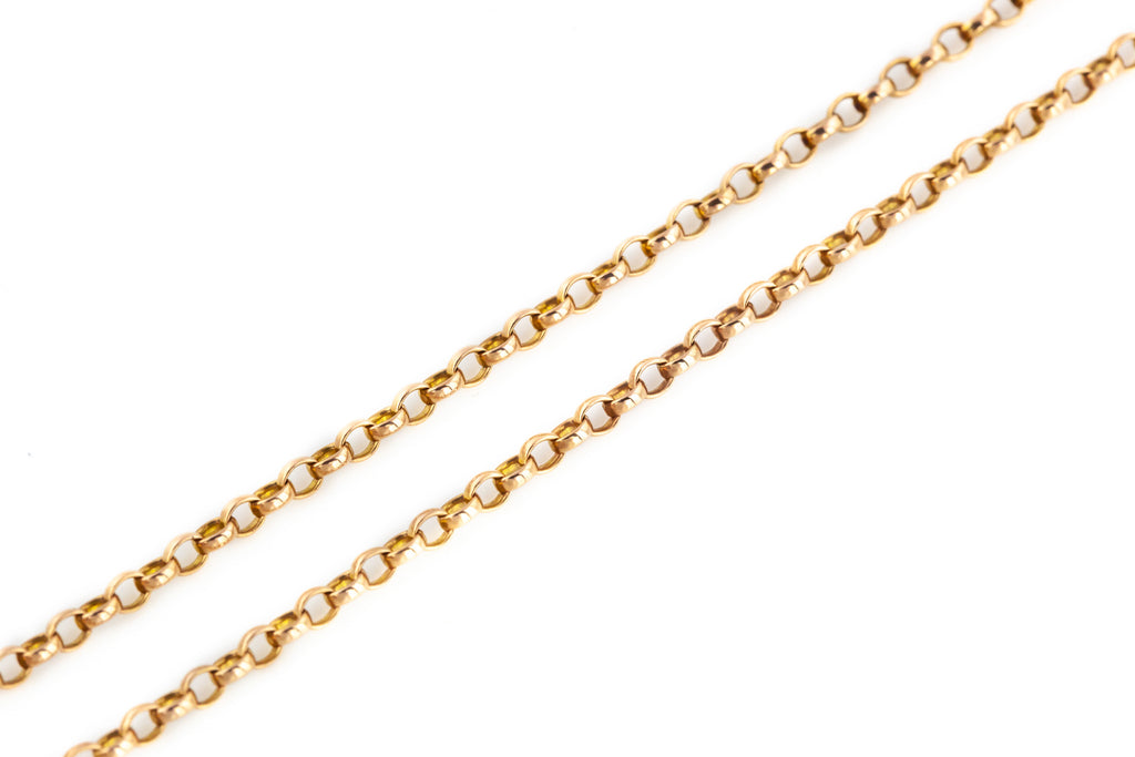 "15.5"" Antique Victorian 9ct Rose Gold Belcher Chain with Dog Clip"