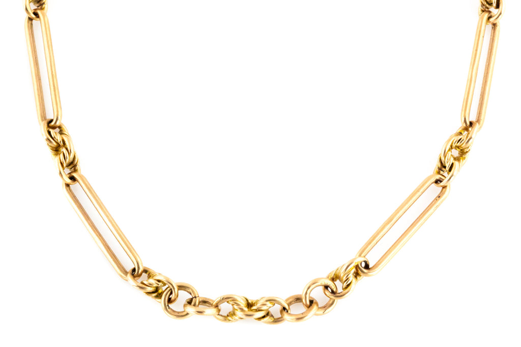 Victorian 9ct Gold Chain with Long and Fancy Links - 21.7g
