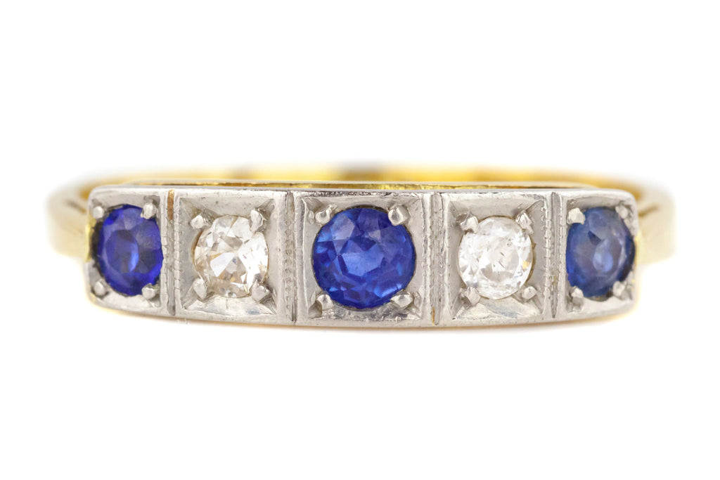 Art Deco 18ct Gold and Platinum Sapphire and Diamond Five Stone Ring