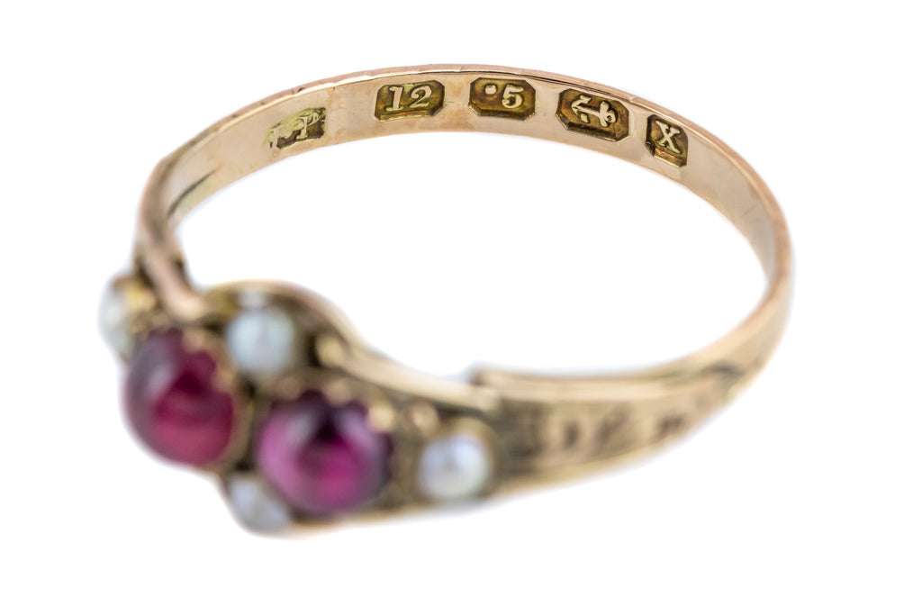 Rare 12ct Gold Victorian Garnet and Pearl Ring c.1872