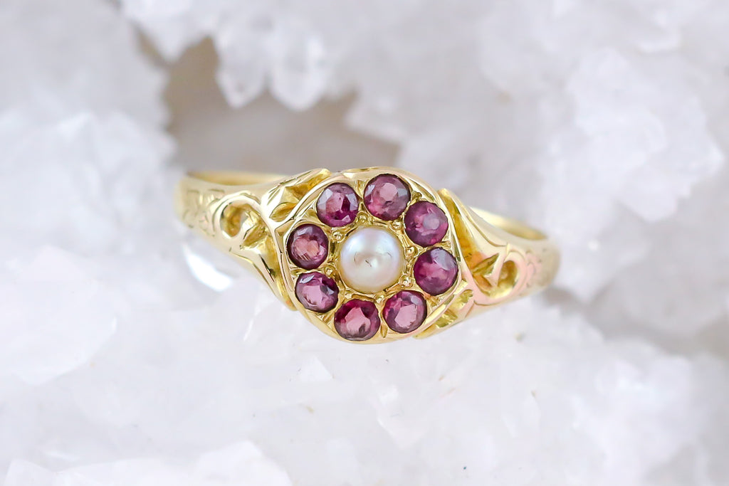 Antique Garnet Pearl Cluster Ring in 15ct Gold