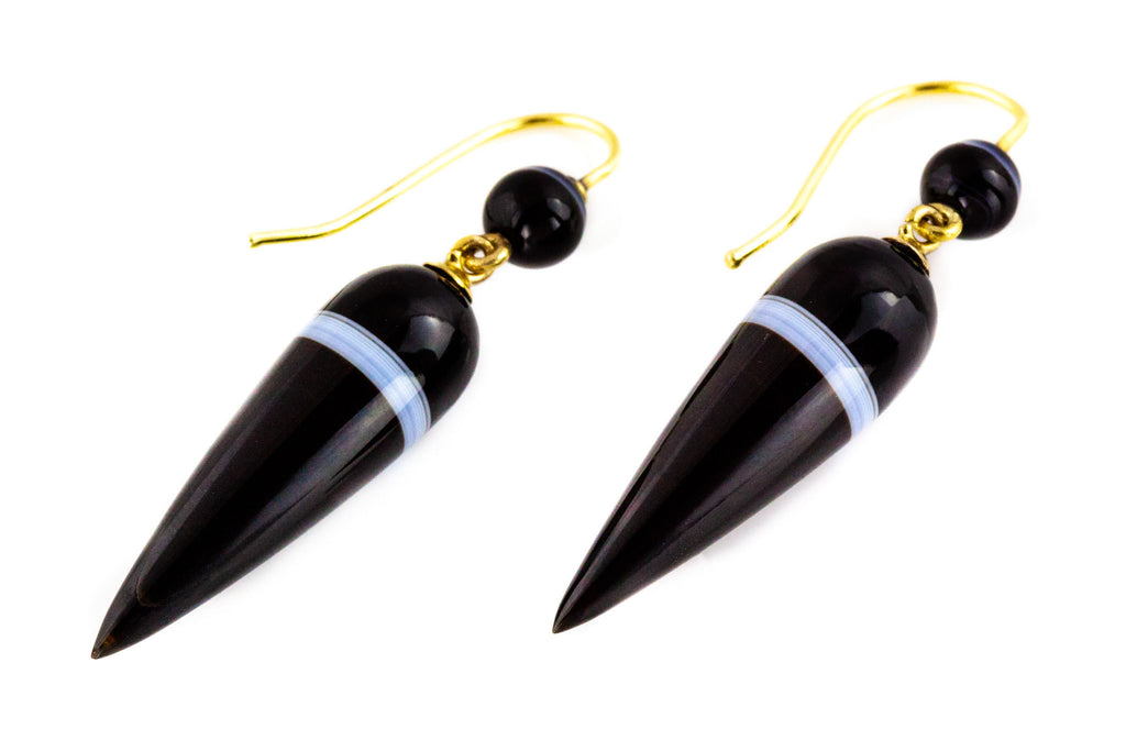 Antique Victorian Banded Agate Drop Earrings on 9ct Gold Hooks