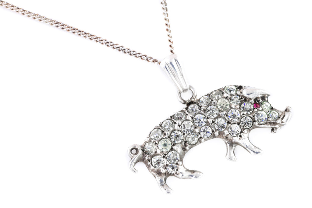 Antique Silver and Paste Piggy Pendant Necklace