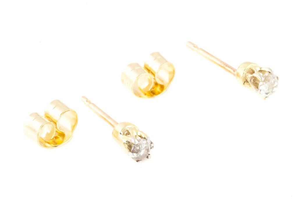 Antique 9ct Gold Edwardian Diamond Stud Earrings