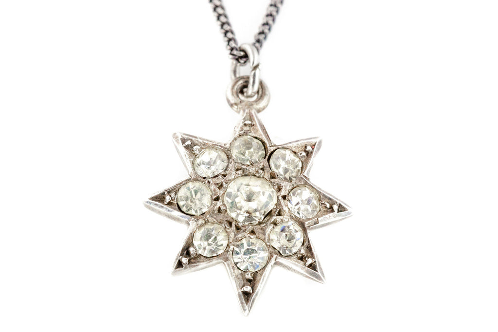 Antique Silver Paste Star Charm Pendant c.1903