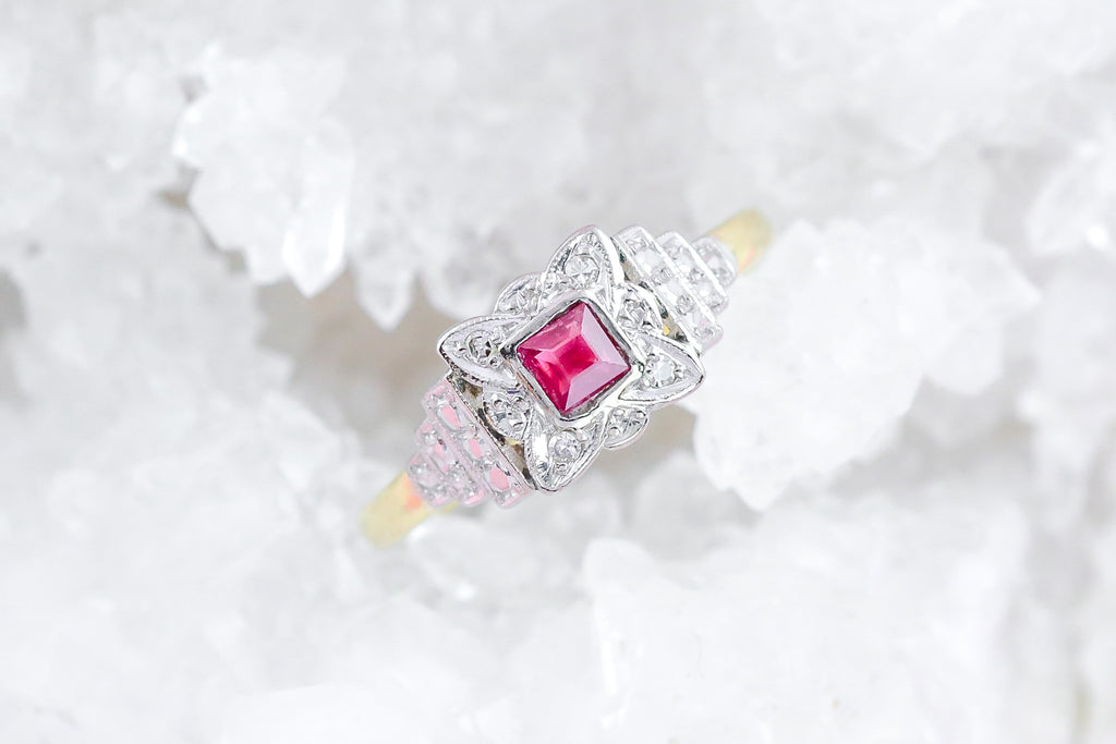 18ct Gold and Platinum Art Deco Ruby and Diamond Ring
