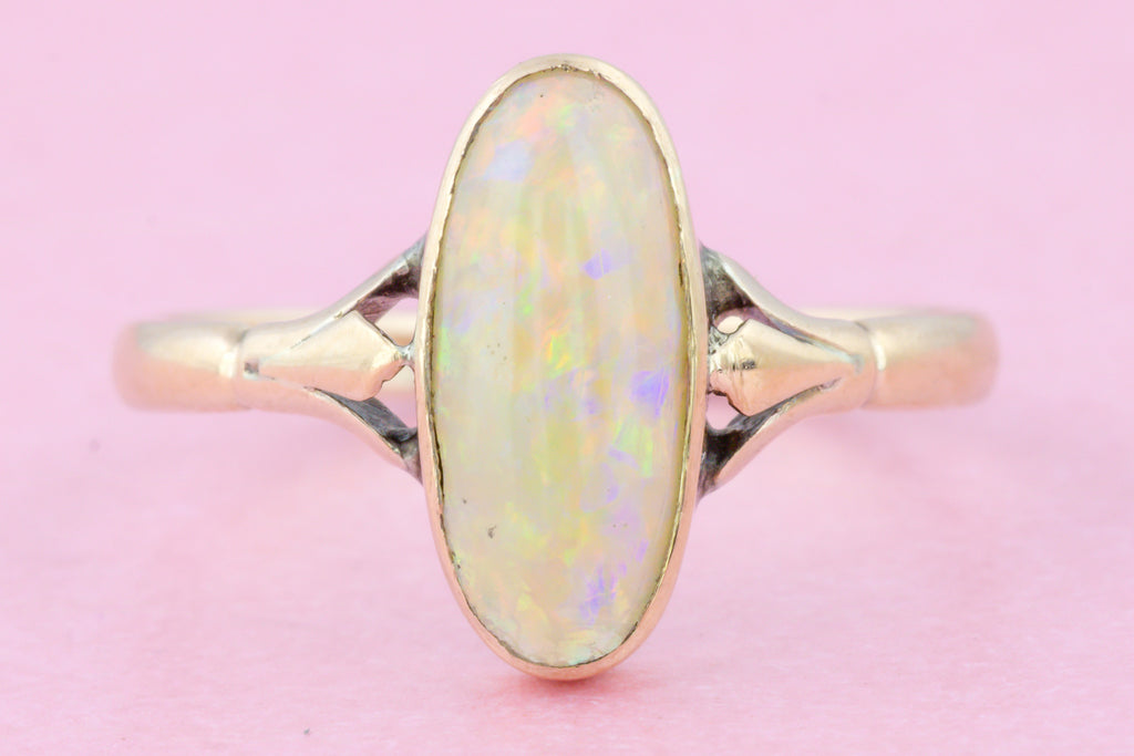 Antique Gold Art Nouveau Opal Ring - 10ct Gold Opal Ring