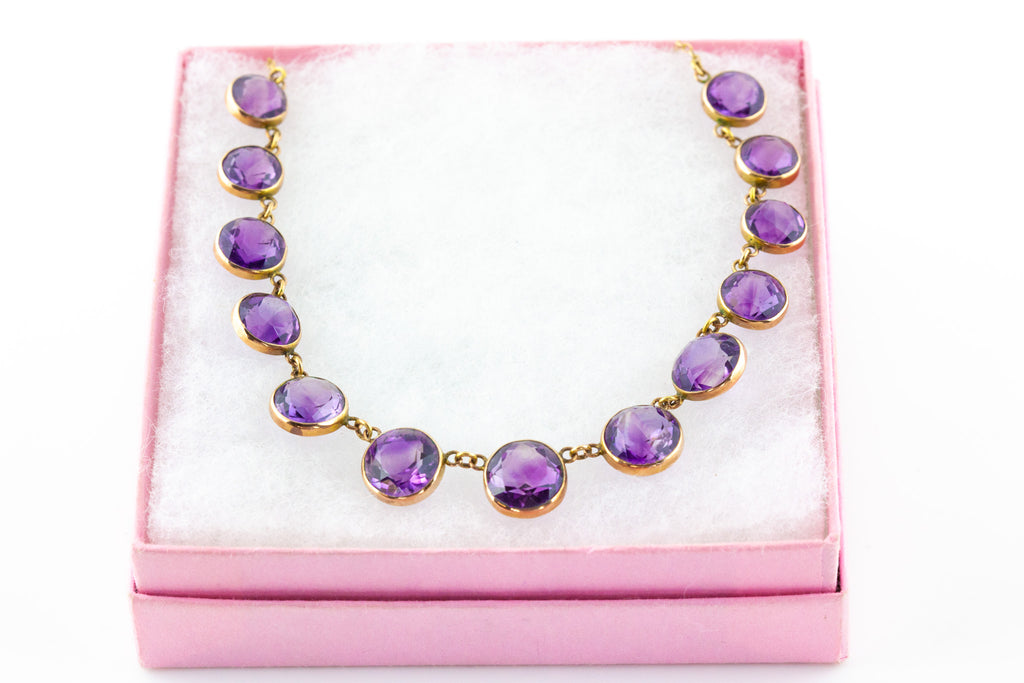 9ct Gold Edwardian Amethyst Rivière Necklace (33.14ct)